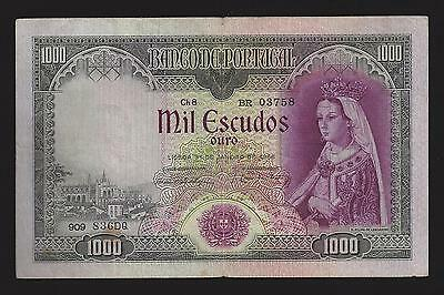 F.c. Billete De Portugal, 1.000 Escudos De 1956, Mbc+ (Vf+) Roturas. P.161.