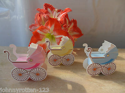 Christening/Baby Shower Favour Box In Retro Pram Style Unisex NEW*