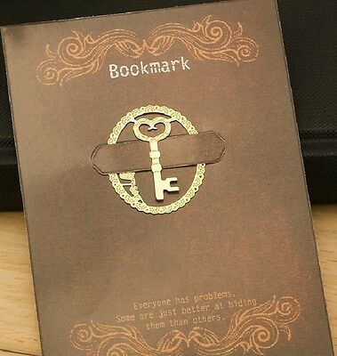 Marque pages en métal doré clé bookmark key gold plated