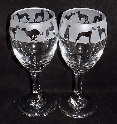 "New Etched Pair of ""Whippet"" Dog Wine Glasses - A lovely original gift"