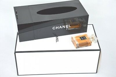 CHANEL VIP Gift Tissue Napkin Holder Signature Makeup Organizer Acrylic Box NEW