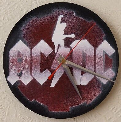 AC/DC inspired wall clocks.7in RECORDS.IRON MAIDEN.ROCK.FESTIVALS.RUSH.LED ZEP