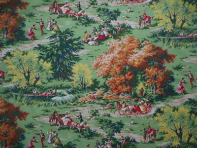 Lovely unused vintage 50's French Marignan fabric, 1M lengths, country scenes