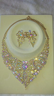 AB Diamante crystal Necklace & earrings set wedding prom new set D