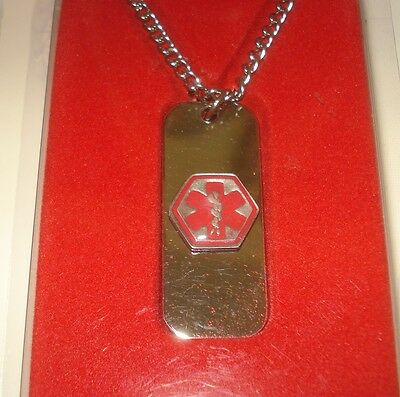 MEDIC ALERT Emergency & Alert Medical ID Necklace/Wallet Card.