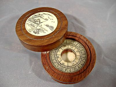 Chinese Scrimshaw Wood Box Feng Shui Zodiac Missing Compass Signed Characters