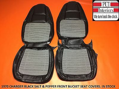 1970 Charger Seat Covers Front Bucket Seats Black Salt & Pepper 70 Dodge Buckets