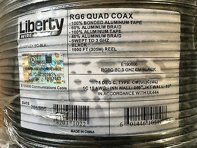 1000FT RG6 Quad Coax Cable 18AWG Black 3 GHZ Liberty Wire & Cable Free Freight