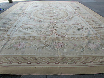 Old Hand Made French Design Original Wool 15x12 Beige Large Aubusson 463X367cm
