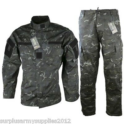 Acu Tactical Ripstop Outfit Trousers Shirt Black Camo Paintballing Airsoft