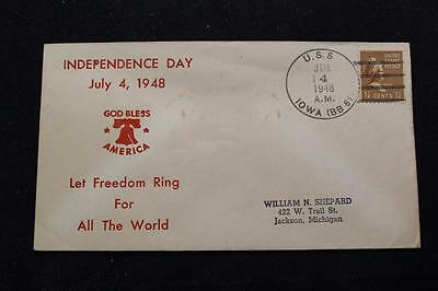 Naval Cover 1948 Ship Cancel Independence Day Uss Iowa (Bb-61) (3052)