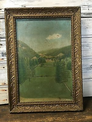 Antique French Oil Painting On Canvas Of Chateau Original Frame