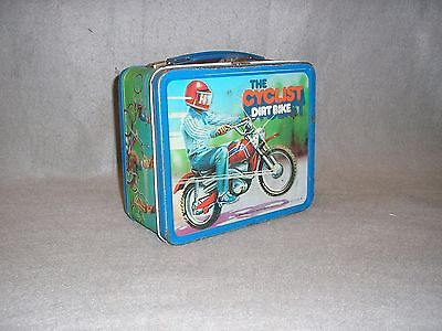 Vintage The Cyclist Moped Dirt Bike Aladdin Metal Lunchbox Good Condition 1970s