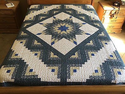 Twin size shade of blue  patchwork log cabin blue quilt#0001