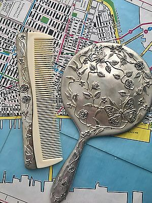 Vintage Hand Mirror And Comb Set Dressing Table