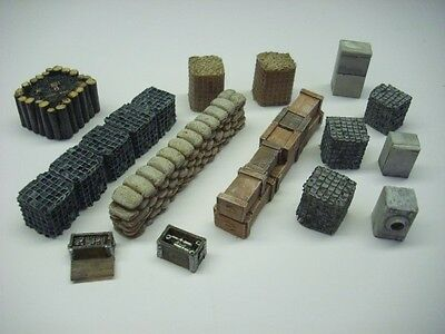 Wargames scenery. 14 piece modern barricade set for 28mm.