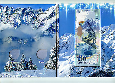 Album for 4 coins Sochi and banknote