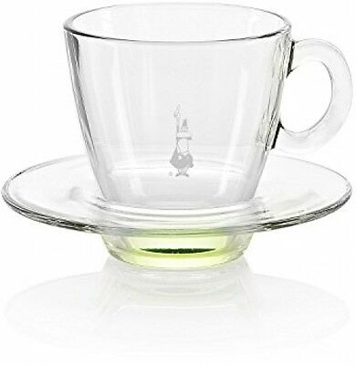 Bialetti Blown Glass Cappuccino Cup And Saucer, Full Set , Green (Cup & Saucer)