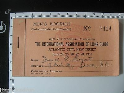 Vintage 1951 International Association of Lions Clubs Convention Ticket Booklet