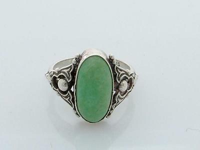 Antique Edwardian/ Art Nouveau Chinese Jade/Jadeite & Silver Ring -Small Size-