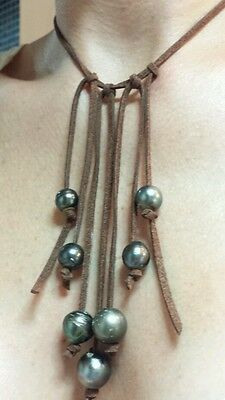 Waterfall of Natural Black gray Tahitian Pearls on brown suede leather necklace