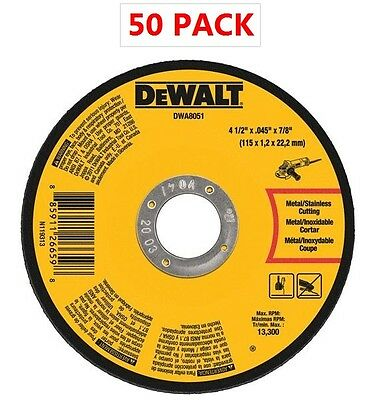 "50) DEWALT DWA8051 Metal Cut-Off Wheel, 4-1/2"" x .045"" x 7/8"" 13300 Rpm"