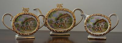 SADLER TEAPOT MILK JUG SUGAR BOWL YE OLD INN BARREL SHAPE  1950's VGC