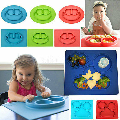 Portable One-Piece Silicone Placemat+Plate Dish Food Table Mat Gift for Baby Kid