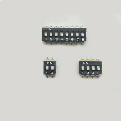 New!! 2P 4P 8P Way Bits Position SMD DIP Switch Black Gold-Plated 2.54mm Kits