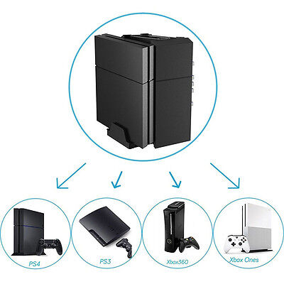 For PS4 Pro / Slim XboxOne Console Vertical Stand Cooling Fan Game Storage Tower