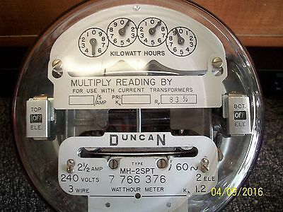 Duncan Electric Meter Type MH-A 2SPT 2.5 Amp 240 Volt Dual Disk Three Phase Vtg
