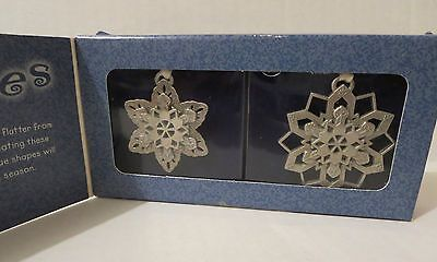 Longaberger Gift Set with 2 Pewter Snowflakes -New Ornaments