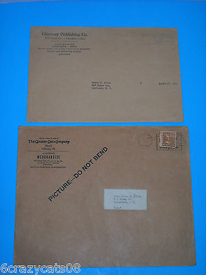 Vintage Ephemera Lot 2 Company Mailing Evelopes QUAKER OATS & GLENWAY PUBLISHING