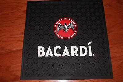 "Bacardi Rum Rubber Black Bar Mat 17"" X 17"" Man Cave Spill Accessory Heavy Duty"