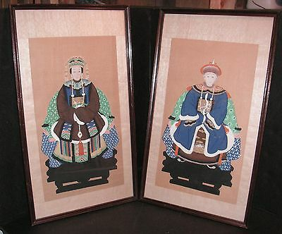 Antique Chinese Ancestor Man & Woman Framed Handpainted Portraits on Silk