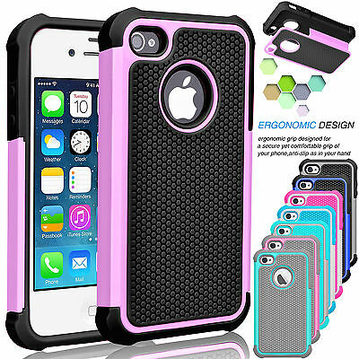 Shockproof Hybrid Rugged Rubber PC Defender Hard Case Cover For iPhone SE 5 5S