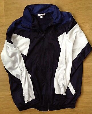 90's TRACKSUIT TOP Vintage Mens Womens Silky Zip Navy & White Top Size Small