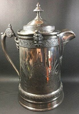 Antique 1878 Water/ Tea Coffee Pitcher Reed & Barton Silverplate Porcelain Liner