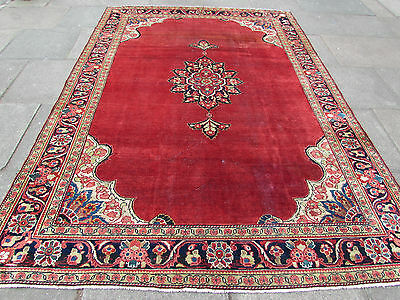Old Shabby chic Traditional Hand Made Persian Wool Red Oriental Carpet 303x220cm