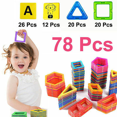 78 PCS Similar Magformers Toys Magnetic Building Sets Magspace alphabet animals