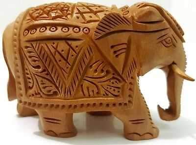 Elephant Wooden Handmade Figurine Artistic Gift Hand Carved Lucky Idol
