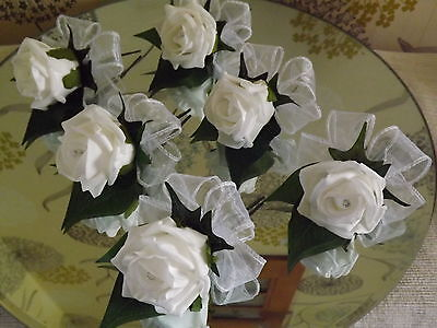 WEDDING ROSE (white) BUTTONHOLES X 6 WITH DIAMANTE OR PEARLS..CHOICE OF COLOURS