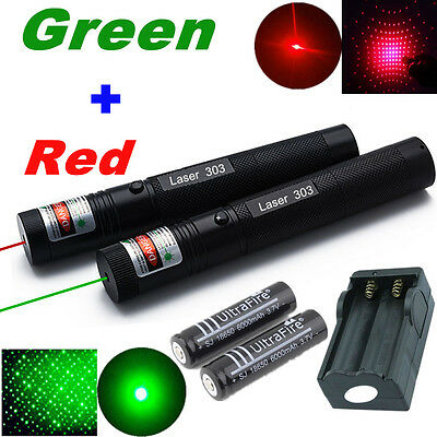 10 Miles Powerful Green + Red 1mW Laser Pointer Pen Light Visible Beam +2x 18650