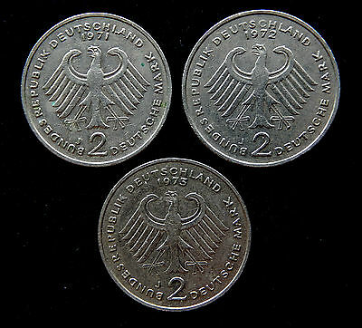 """1971 - 1973 Germany 2 Deutsche Mark Coins  """"Lot of 3 Coins"""" KM#124&A127 SB3427"""