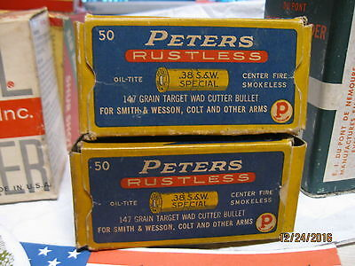 2 Nice  Different 1930's SCARCE 38 S&W Spl Peters RUSTLESS Wadcutter Ammo Boxes
