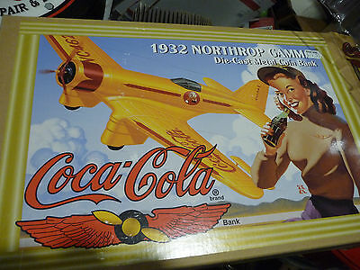 1932 northrop gamma Die-Cat Metal Coin Bank Coca Cola Toy Air Plane 1995