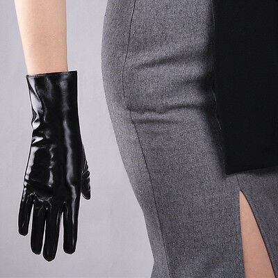 Shine Leather Faux Patent Leather Wrist Long Gloves Black Cosplay Gothic Latex