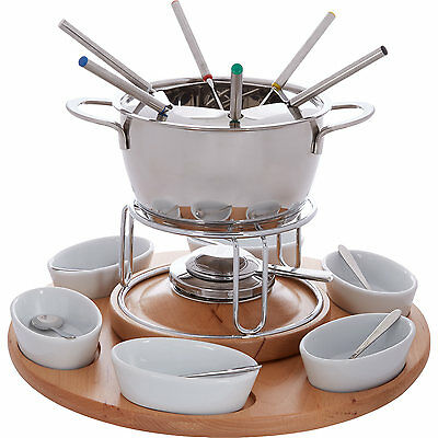 27 Pieces Silver Stainless Steel Fondue Carousel Ceramic Wooden Wedding Gift