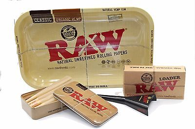 Raw King Size Cone Tray Bundle With Raw Cone Loader Plus RAw tin