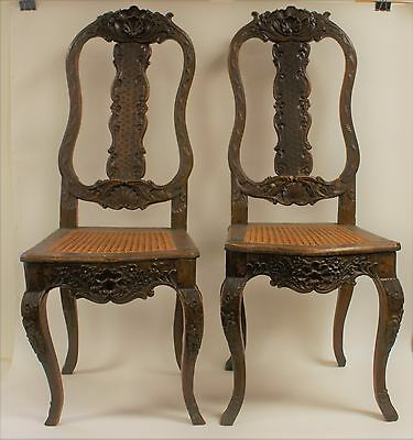 Pair of 18thC. Italian Carved High Back Chairs